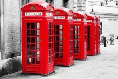 Obraz Budki telefoniczne w Londynie w metodzie klucza koloru