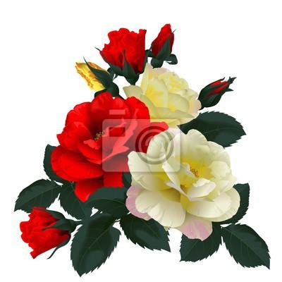 Obraz Bukiet czerwonych i żółtych róż, samodzielnie na białym tle