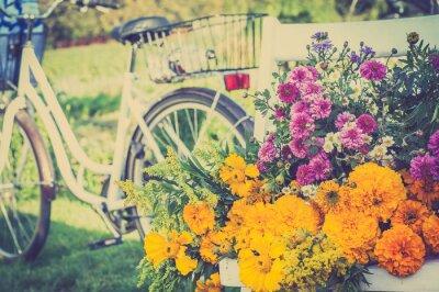 Obraz Bukiet kwiatów na białym krześle. Niewyraźne retro rower w tle.