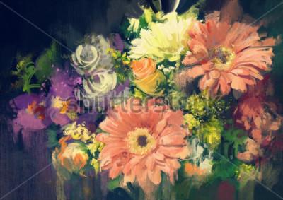 Obraz bukiet kwiatów w stylu malarstwa olejnego, ilustracja
