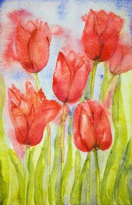 Obraz Bukiet tulipanów w polu. Technika wklepywanie pobliżu krawędzi daje miękką efekt ogniskowania w wyniku zmienionego chropowatość powierzchni papieru.