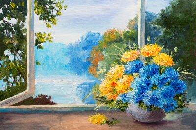 bukiet wiosennych kwiatów na stole przy oknie, obraz olejny