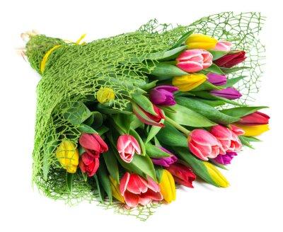 Obraz bukiet z 25 kolorowych tulipanów, odizolowane na białym tle