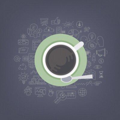 Obraz Burza mózgów pomysły ilustracji kawy