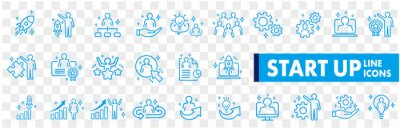 Obraz Business Startup Management Teamwork strategy Employee line  icons set