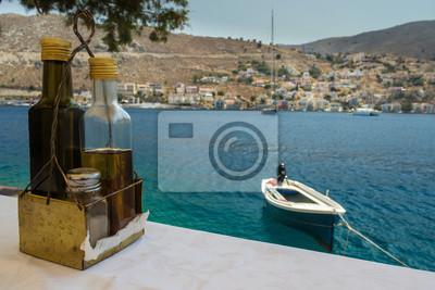 Butelka oleju od greckiego wybrzeża