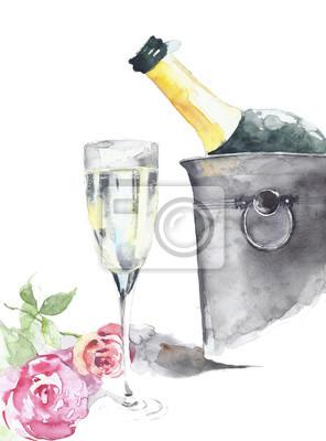 Butelka szampana w wiaderku z lodem ze szkła kryształowego i róże ręcznie akwareli samodzielnie na białym tle