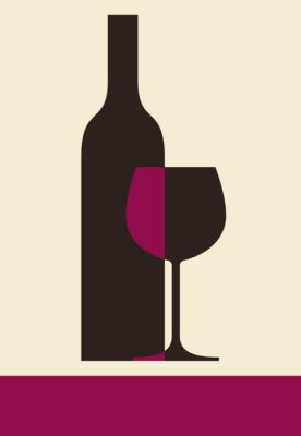 Obraz Butelka wina i szkła. Motyw wina