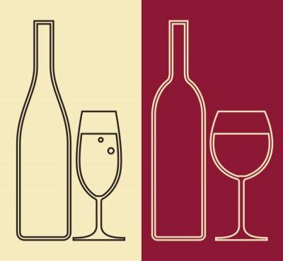 Obraz Butelki i kieliszki wina i szampana