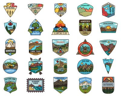 Obraz Camping adventure logos set. Vintage travel emblems. Hand drawn badges stickers designs bundle. Wanderlust, national park, scouts labels. Outdoor nature insignias. Logotypes collection. Stock vector.