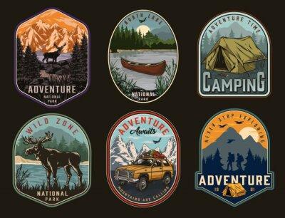 Obraz Camping and national park vintage labels
