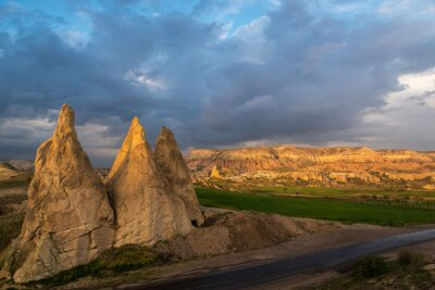 Cappadocia landscape with rocks in foreground