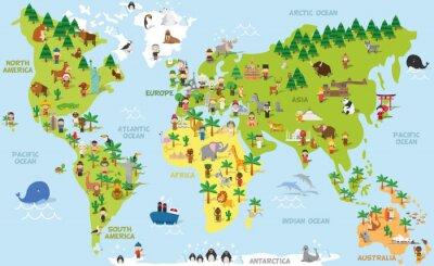 Obraz Cartoon Zabawna mapa świata z dziećmi różnych narodowości, zwierząt i zabytków wszystkich kontynentach i oceanach. ilustracji wektorowych dla edukacji przedszkolnej i dzieci wzornictwa.