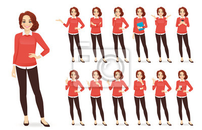 Obraz Casual business woman character in different poses set with red hair vector illustration