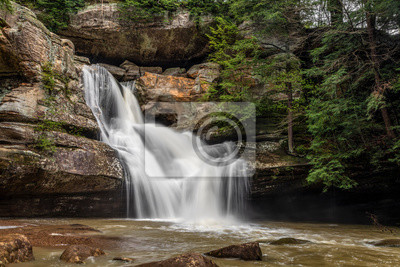 Cedar Falls Flow - Cedar falls, a beautiful waterfall in the Hocking Hills of Ohio, flows strongly after heavy spring rains.