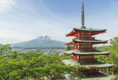 Obraz Cel podróży - Mt. Fuji z czerwonym pagoda w Spring, Fujiyos