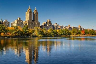 Obraz Central Park i Manhattan, Upper West Side z kolorowych spadek liści. Nowy Jork.