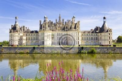 Chambord Chateau odzwierciedlenie w kanał. Panoramiczny widok