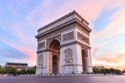 Obraz Champs-Elysees w Paryżu o zachodzie słońca