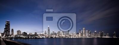 Obraz Chicago w nocy panoramiczny