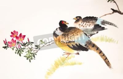 Obraz Chiński malarstwo tuszem ptaków i roślin