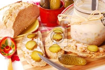 Obraz chleb ze smalcem i ogórek