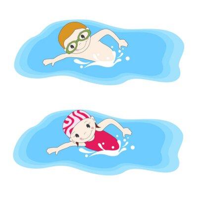 Obraz Chłopiec i pływanie w basenie