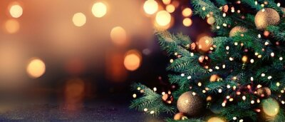 Obraz Christmas tree with lights background