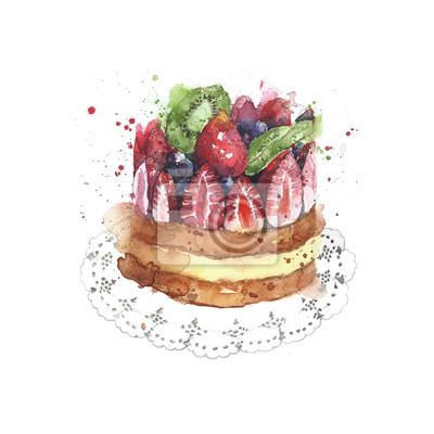 Ciasto truskawkowe ciasto owocowe Shortcake deser akwarela ilustracji samodzielnie na białym tle