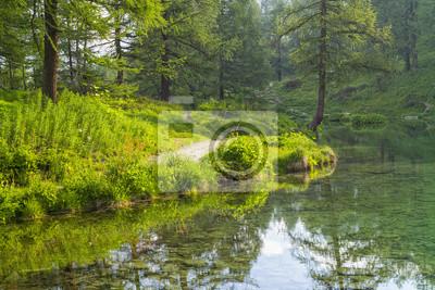 Cichy poranek z czystą wodą w jeziorze we Włoszech