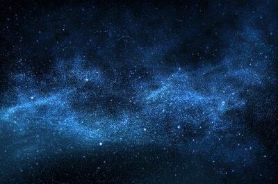 Obraz Ciemne nocne niebo z musujące gwiazd i planet, ilustracji