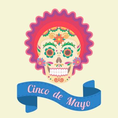 Obraz Cinco de Mayo, malowane czaszki w tradycji narodowych Meksyku