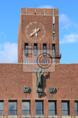 Clock in City Hall (Radhuset) of Oslo, Norway