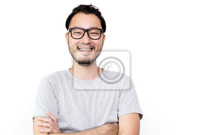 Obraz Closeup portrait of happy asian man face, isolated on white background with copy space.