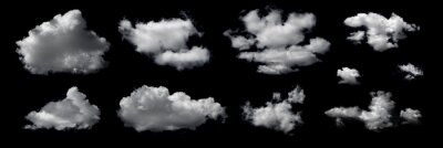 Obraz Clouds set isolated on black background. White cloudiness, mist or smog background. Design elements on the topic of the weather. White cloud collection.