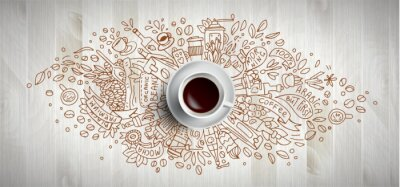 Obraz Coffee concept on wooden background - white coffee cup, top view with doodle illustration about coffee, beans, morning, espresso in cafe, breakfast. Morning coffee vector illustration. Hand draw and