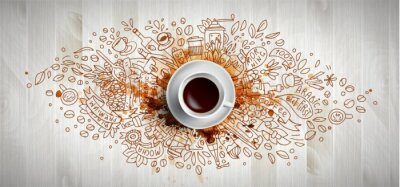 Obraz Coffee concept on wooden background - white coffee cup, top view with doodle illustration about coffee, beans, morning, espresso in cafe, breakfast. Morning coffee vector illustration with coffee