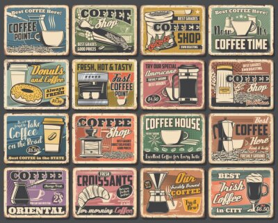 Obraz Coffee cups and espresso machine grunge posters of cafe vector design. Hot drink and beverage mugs with cappuccino, latte and mocha, coffee bean grinder, pot and paper cup, croissant, sugar and milk