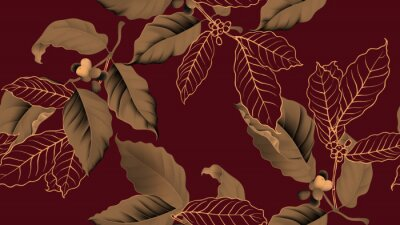 Obraz Coffee tree seamless pattern, branch of coffee tree in golden brown on dark red background, vintage style
