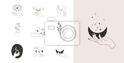 Obraz Collection of fine, hand drawn style logos and icons of hands. Fashion, skin care and wedding concept illustrations.