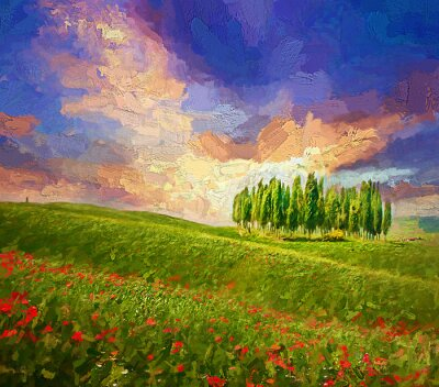 Obraz Colorful evening sunset with famous group of cypress tress and red poppy flowers on the rolling hills in summer time at Tuscany, Italy.- oil painting.