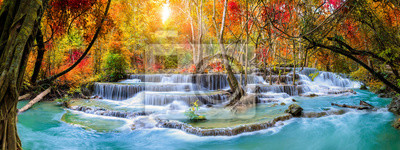 Obraz Colorful majestic waterfall in national park forest during autumn, panorama - Image