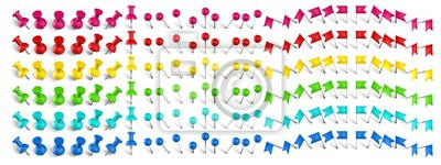 Obraz Colorful pushpin, pin flag and thumbtack. Color location mark pin, red flags and realistic pins vector set. Stationery items. Plastic paperwork and sewing accessories. Collection of needles