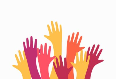 Obraz Colorful up hands. Charity teamwork vector concept illustration