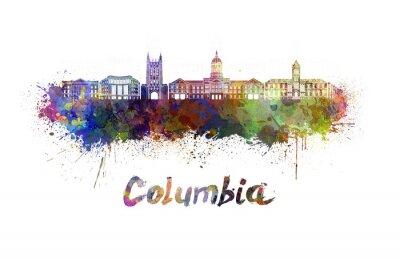 Obraz Columbia MO skyline w akwareli