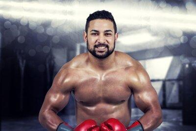 Obraz Composite obraz muskularny mężczyzna w rękawice bokserskie