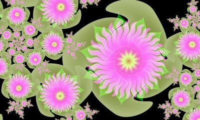 Computer generated 3D floral fractal.Leah rose with green leaves on a black background.Wallpapers for your desktop.