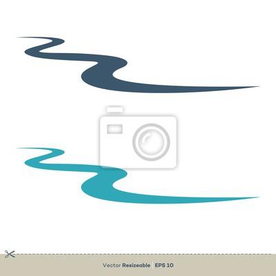 Obraz Creek Line Vector Logo Template Illustration Design. Vector EPS 10.