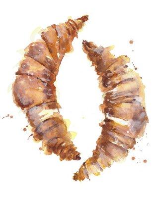 Croissant śniadanie deser akwarela ilustracji samodzielnie na białym tle