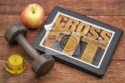 Obraz CrossFit słowo abstrakcyjne na tablecie